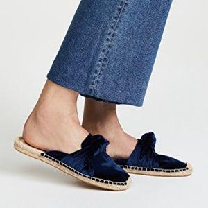☀️SALE Soludos Knot Blue Velvet Espadrille Mules
